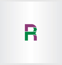letter r green purple icon logo vector image vector image