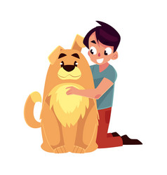 Little boy child kid with big fluffy brown dog vector