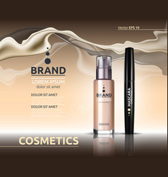 Mascara and skin toner ads cosmetics glass bottle vector