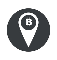 Monochrome round bitcoin pointer icon vector