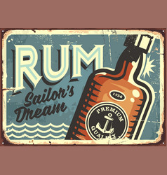 Rum vintage tin sign vector