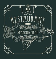 Seafood restaurant menu with hand tray and fish vector