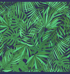 seamless pattern with tropical palm leaves green vector image vector image