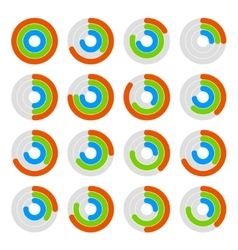 Set of circular colored progress diagram vector