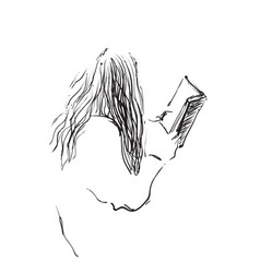 sketch of woman reading book vector image