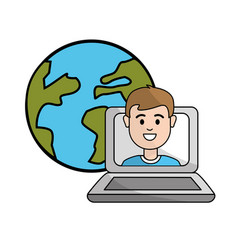 Student class online in the laptop and global vector