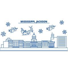 usa mississippi jackson winter city skyline vector image