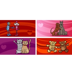 valentine cartoon greeting cards set vector image vector image