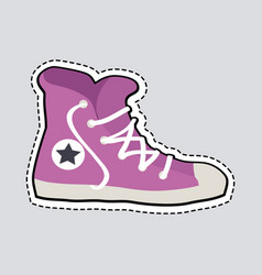 violet sport footwear patch shoes with dashed line vector image
