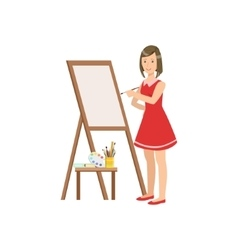 Woman painter in red dress creative person vector