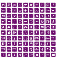 100 architecture icons set grunge purple vector