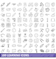 100 learning icons set outline style vector