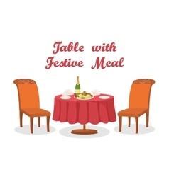 Cartoon table with meal isolated vector