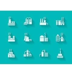 White modern icons for industrial buildings vector