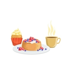 Cupcake waffle and coffee breakfast food drink vector