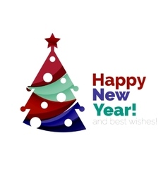 Christmas tree new year banner elements vector