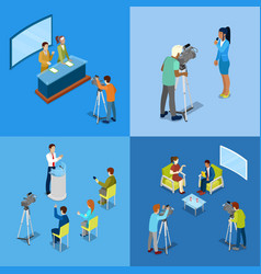 Isometric mass media concept with reporters vector