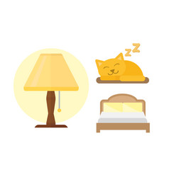sleep icons lamp bed set vector image