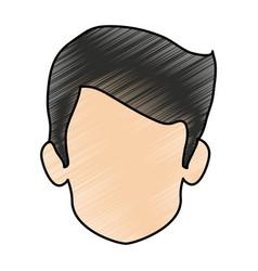 Color pencil image faceless front view man vector
