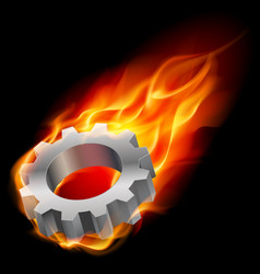 Realistic gearwheel in fire on black background vector