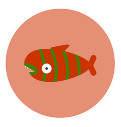 icon in flat design on colorful background fish vector image