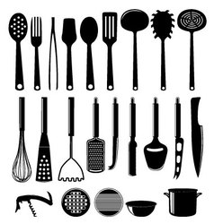 Kitchenware icon set isolated on white vector