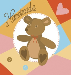 With handmade teddy bear vector