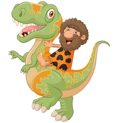 Carton caveman riding a dinosaur vector