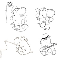 A set of hippos coloring book vector