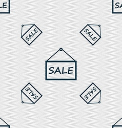 Sale tag icon sign seamless pattern with geometric vector