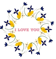 Bouquet and heart frame with words i love you vector