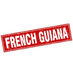 French guiana red square grunge vintage isolated vector
