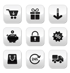 Shopping buttons for website online store vector