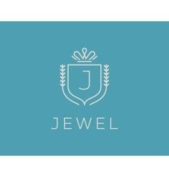 Elegant monogram letter j logotype premium crest vector