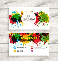 Abstract colorful grunge ink splash business card vector