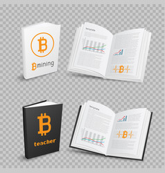 bitcoins books on transparent background vector image