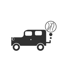 Black icon on white background car and smoke vector