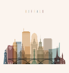 buffalo state new york skyline detailed silhouette vector image vector image