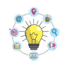 Bulb idea with technology icons vector