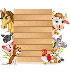 Cartoon funny farm animals with wooden sign vector image vector image