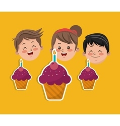 Child with happy birthday related icons image vector