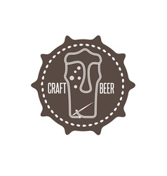 craft beer concept label with needle and thread vector image vector image