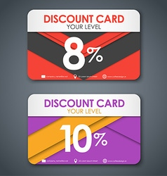 Discount cards in style of material design vector