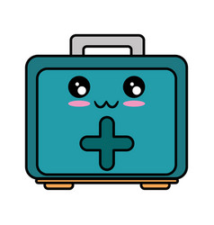 First aid kit kawaii cartoon vector