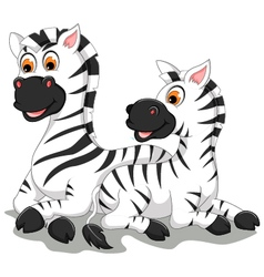 funny zebra cartoon with her baby vector image vector image