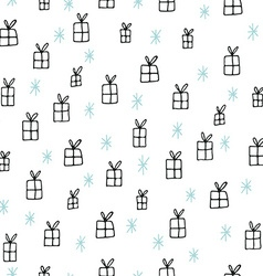 Hand drawn Christmas seamless pattern vector image vector image