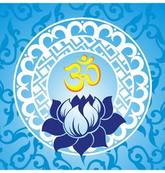 Indian spiritual sign ohm with lotus vector image