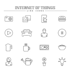 Internet of things and smart home line icons set vector image