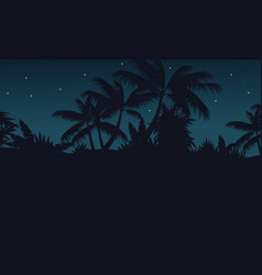 Jungle with palm tree at night scenery vector