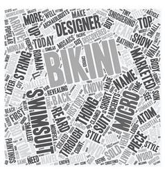 Micro bikini text background wordcloud concept vector